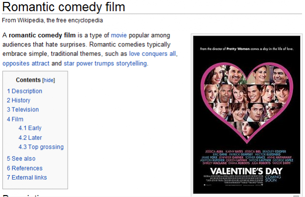 A romantic comedy film is a type of movie popular among audiences that hate surprises.  Romantic comedies typically embrace simple, traditional themes, such as love conquers all, opposites attract and star power trumps storytelling.